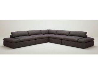 Divani Casa Kelly - Modern Dark Grey Fabric Sectional Sofa