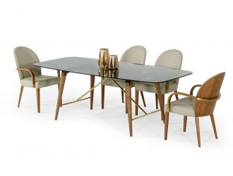 Modrest Kipling - Modern Smoked Glass & Walnut Large Dining Table