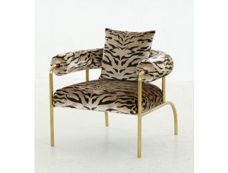 Modrest Kola - Gold Zebra Print Accent Chair