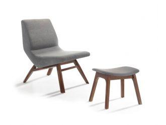 Modrest Whitney Modern Grey & Walnut Accent Chair & Ottoman