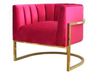 Modrest Landau - Pink Velvet + Gold Accent Chair