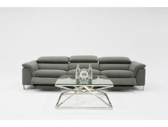 Divani Casa Maine Modern Grey Velvet Sofa w/ Electric Recliners