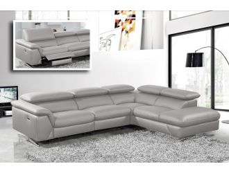 Divani Casa Maine - Modern Medium Grey Eco-Leather Right Facing Sectional Sofa with Recliner