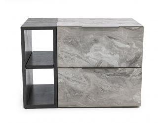 Nova Domus Maranello - Modern Grey Wash & Faux Marble Nightstand