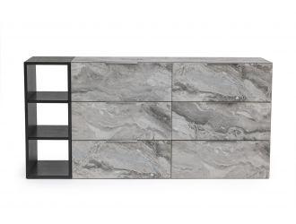 Nova Domus Maranello - Modern Grey Wash & Faux Marble Dresser