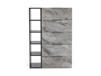 Nova Domus Maranello - Modern Grey Wash & Faux Marble Chest