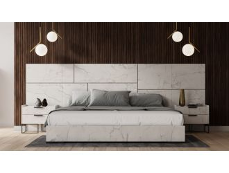 Nova Domus Marbella - Italian Modern White Marble Bed with 2 Nightstands