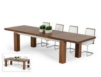 Modrest Maxi - Modern Walnut & Stainless Steel Dining Table
