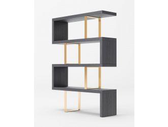 Modrest Maze - Elm Grey & Gold Bookcase
