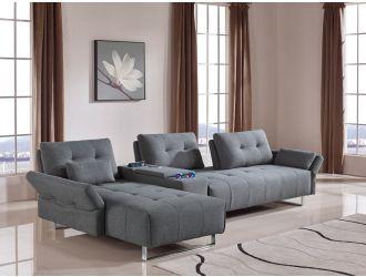 Divani Casa Testro Modern Grey Fabric Sectional Sofa w/ Storage