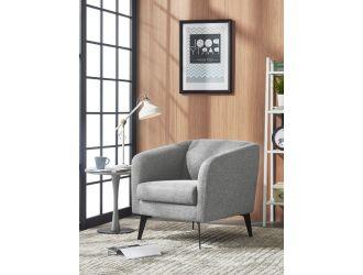 Divani Casa Bannack Modern Light Grey Fabric Lounge Chair