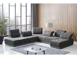 Divani Casa Ekron - Modern Grey Fabric Modular Sectional Sofa