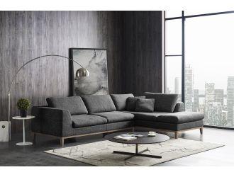 Divani Casa Hickman - Modern Dark Grey Fabric Right Facing Sectional Sofa