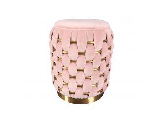 Divani Casa Meeker - Pink Velvet + Gold Woven Ottoman