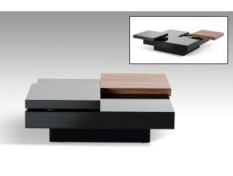 Ambry Modern Walnut and Black Coffee Table