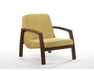 Modrest Bronson Mid-Century Modern Yellow & Walnut Accent Chair