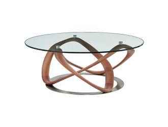 Modrest Michele - Modern Glass + Walnut Coffee Table