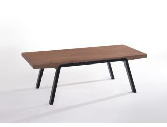 Modrest Rhett Mid-Century Walnut & Black Coffee Table