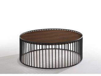 Modrest Bronson Modern Walnut & Black Round Coffee Table