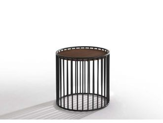 Modrest Bronson Modern Walnut & Black Round Tea Table
