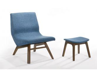 Modrest Whitney - Modern Blue & Walnut Accent Chair & Ottoman