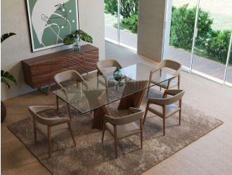 Modrest Corbin Mid-Century Walnut & Glass Dining Table