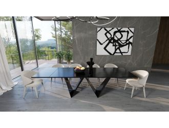 Modrest Fritz - Modern Black Extendable Ceramic Dining Table