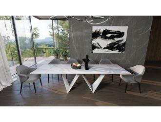 Modrest Fritz - Modern White Extendable Ceramic Dining Table