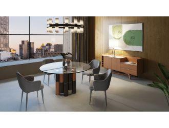 Modrest Greta - Modern Glass & Walnut Dining Table