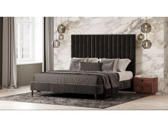 Modrest Hemlock - Modern Dark Grey Velvet Bed