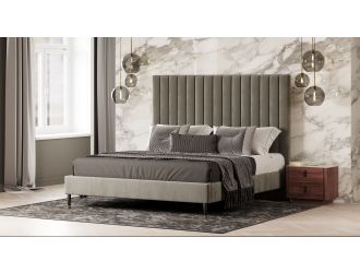 Modrest Hemlock - Modern Grey Velvet Bed