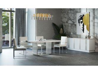 Modrest Kingsley Modern Marble & Stainless Steel Dining Table