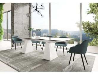 Modrest Latrobe - Modern Extendable Quartz Stone & Glass Dining Table
