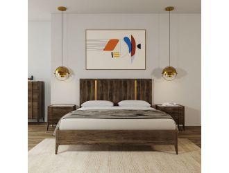 Modrest Oakley - Mid-Century Dark Brown Bed