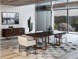 Modrest Patty - Mid-century Acacia & Brass Dining Table