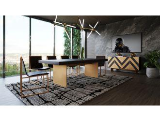 Modrest Perret - Large Glam Black Ash + Brushed Brass Dining Table
