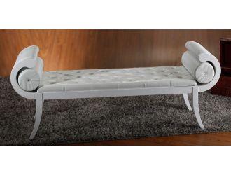 Monte Carlo White Leather Bench
