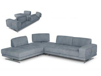 Coronelli Collezioni Mood - Contemporary Blue Leather Left Facing Sectional Sofa