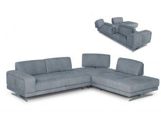 Coronelli Collezioni Mood - Contemporary Blue Leather Right Facing Sectional Sofa
