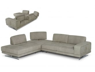 Coronelli Collezioni Mood - Italian Grey Leather Left Facing Sectional Sofa