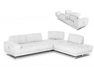 Coronelli Collezioni Mood - Italian White Leather Right Facing Sectional Sofa