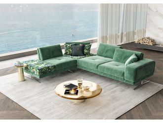 Coronelli Collezioni Mood - Italian Green Velvet Left Facing Sectional Sofa
