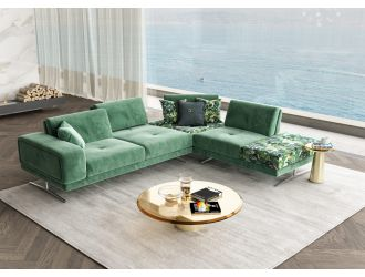 Coronelli Collezioni Mood - Italian Green Velvet Right Facing Sectional Sofa