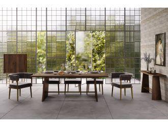 Modrest Selena Modern Acacia & Brass Dining Table