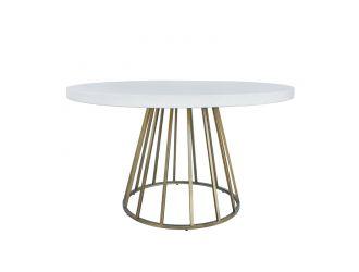 Modrest Harper Modern White Concrete & Antique Brass Round Dining Table