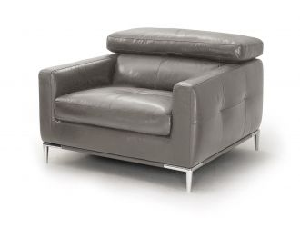 Divani Casa Natalia - Modern Dark Grey Leather Chair