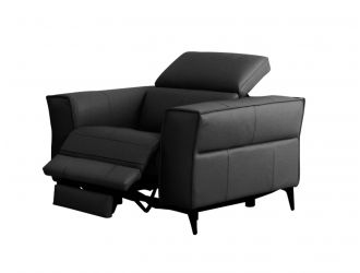 Divani Casa Nella - Modern Black Leather Armchair w/ Electric Recliner