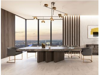 Nova Domus Amsterdam - Modern Grey Volcano & Eucalyptus Oak Dining Table