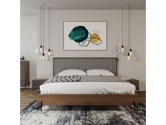 Nova Domus Metcalf - Mid-Century Walnut & Grey Bed w/ Two Nightstands