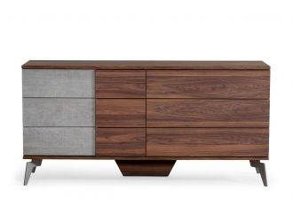 Nova Domus Palermo - Modern Italian Faux Concrete & Walnut Dresser